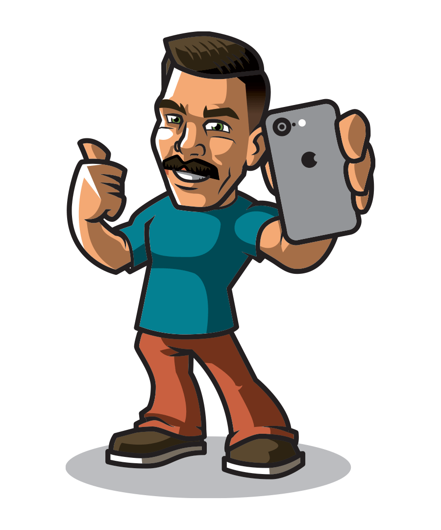 vanader-growth-mascot-holding-a-cellphone-with-a-thumbs-up-and-smiling